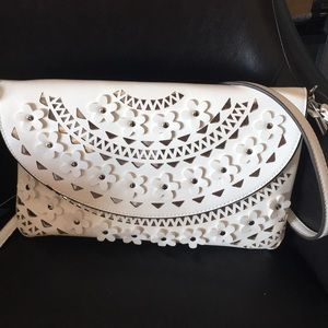 White on Silver Laser Cut Floral Studs Crossbody